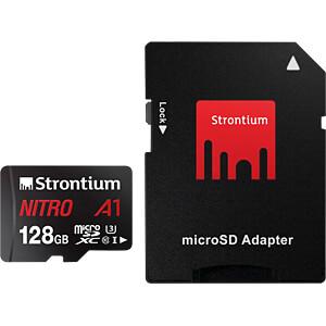 MicroSDXC-Speicherkarte 128 GB, Strontium mit Adapter STRONTIUM SRN128GTFU3A1A
