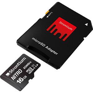 MicroSDHC-Speicherkarte 16 GB, Strontium Class 10 mit Adapter STRONTIUM SRN16GTFU1QA