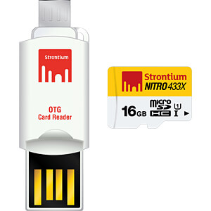 MicroSDHC-Speicherkarte 16GB, Strontium Class 10 mit OTG Adapter STRONTIUM SRN16GTFU1T