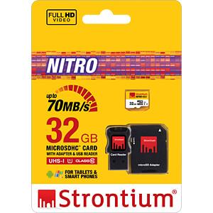 MicroSDHC-Speicherkarte 32GB, Strontium Class 10 mit Adapter STRONTIUM SRN32GTFU1C