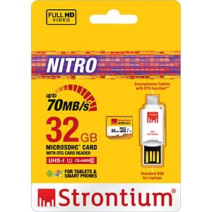 MicroSDHC-Speicherkarte 32GB, Strontium Class 10 mit OTG Adapter STRONTIUM SRN32GTFU1T