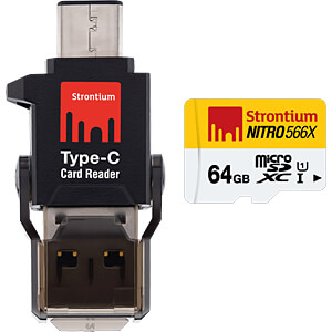 MicroSDXC-Speicherkarte 64GB, Strontium Class 10 mit Typ C Adapt STRONTIUM SRN64GTFU1P