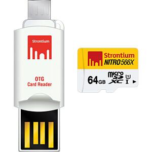 MicroSDXC-Speicherkarte 64GB, Strontium Class 10 mit OTG Adapter STRONTIUM SRN64GTFU1T