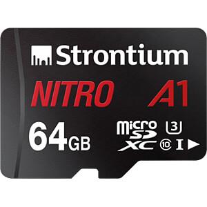 MicroSDXC-Speicherkarte 64 GB, Strontium mit Adapter STRONTIUM SRN64GTFU3A1A