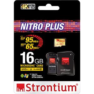 MicroSDHC-Speicherkarte 16 GB, Strontium mit Card-& USB-Adapter STRONTIUM SRP16GTFU1C