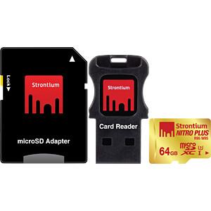MicroSDXC-Speicherkarte 64 GB, Strontium mit Card-& USB-Adapter STRONTIUM SRP64GTFU1C