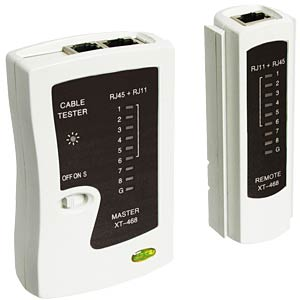 Cable tester for RJ11/RJ12/RJ45/ISDN FREI