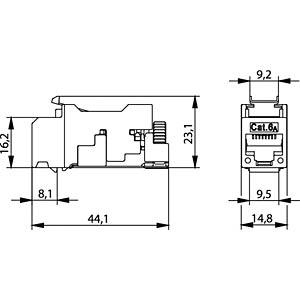 AMJ-S module cat. 6A T568A, two pieces TELEGÄRTNER J00029A2000