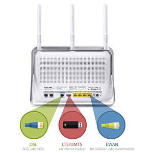 WLAN Router 2.4/5 GHz VDSL2 VoIP 750 MBit/s TP-LINK ARCHER VR200V