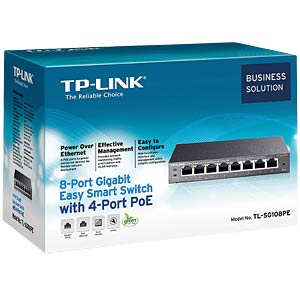 8-Port Gigabit Easy Smart Switch with 4-Port PoE TP-LINK TL-SG108PE