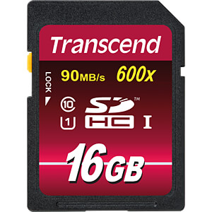 SDHC-geheugenkaart, 16GB Class10 UHS-I 600x Ultimate TRANSCEND TS16GSDHC10U1