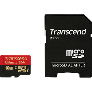 MicroSDHC-geheugenkaart 16GB, Transcend Class 10 UHS-I TRANSCEND TS16GUSDHC10U1