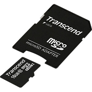 MicroSDHC-geheugenkaart 16GB Transcend Class 10 TRANSCEND TS16GUSDHC10