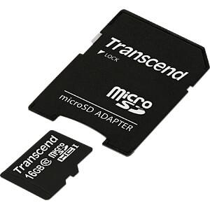 MicroSDHC-Speicherkarte 16GB, Transcend Class 10 TRANSCEND TS16GUSDHC10