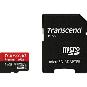 MicroSDHC-geheugenkaart 16GB, Transcend Class 10 UHS-I TRANSCEND TS16GUSDU1