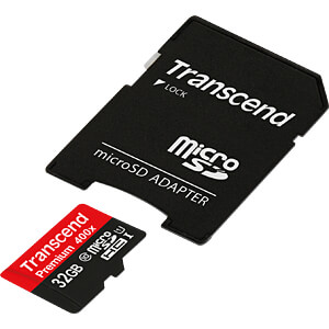 MicroSDHC-geheugenkaart 32GB, Transcend Class 10 UHS-I TRANSCEND TS32GUSDU1