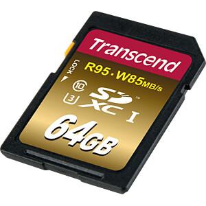SDXC-Speicherkarte, 64GB Class10 UHS-I U3 Ultimate X TRANSCEND TS64GSDU3X