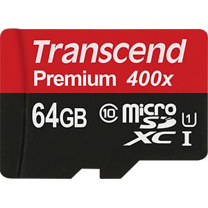 MicroSDXC-geheugenkaart 64GB Transcend Class 10 UHS-I TRANSCEND TS64GUSDU1
