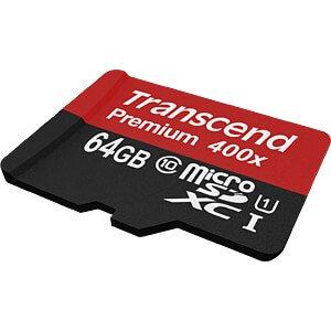 MicroSDXC-Speicherkarte 64GB, Transcend Class 10 UHS-I TRANSCEND TS64GUSDU1