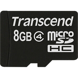MicroSDHC-geheugenkaart 8GB Transcend Class 4 TRANSCEND TS8GUSDC4