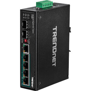 Switch, 6-Port, Gigabit Ethernet, DIN Rail, PoE+ TRENDNET TI-PG62