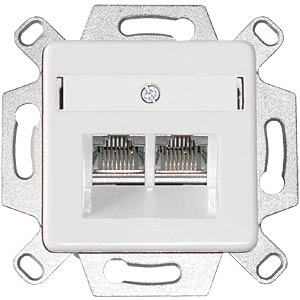 2-slot unilan RJ45 connection box, Cat.6A flush-fitted DAETWYLER 435060