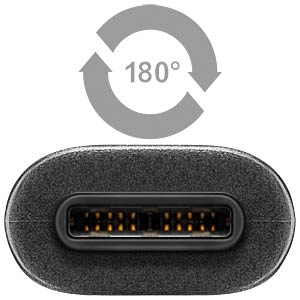 USB 3.1 C plug > 3.0 A socket, black, 0.2 m FREI