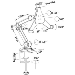 Table bracket with 4 joints for e-readers, tablets VALUE 17.99.1151