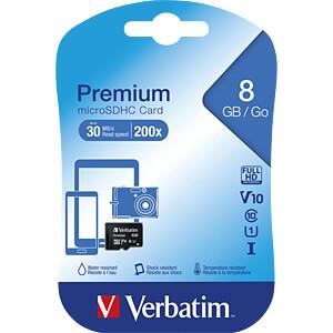 MicroSDHC-geheugenkaart 8GB, Verbatim - Class 10 VERBATIM 44012