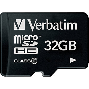 MicroSDHC-geheugenkaart 32GB, Verbatim - Class 10 VERBATIM 44013