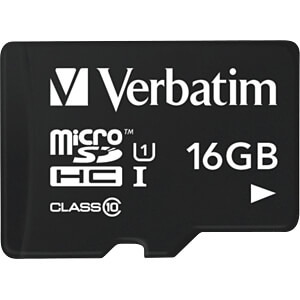 MicroSDHC-Speicherkarte 16GB, Verbatim - Class 10 VERBATIM 44058
