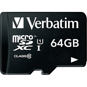 MicroSDXC-Speicherkarte 64GB, Verbatim - Class 10 VERBATIM 44060