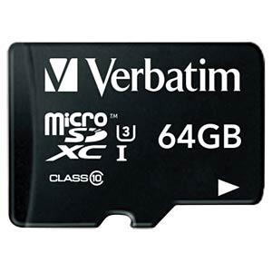 MicroSDXC-Card 64GB - Verbatim - Class 10 - U3 VERBATIM 47042