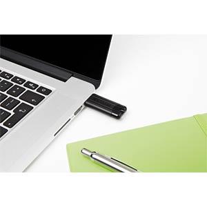 USB3.0-stick 64GB Verbatim PinStripe zwart VERBATIM 49318