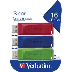 USB-Stick, USB 2.0, 16 GB, Slider, 3 pcs VERBATIM 49326