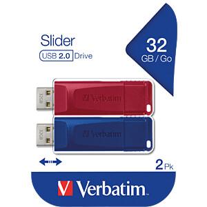 USB-Stick, USB 2.0, 32 GB, Slider, 2 pcs VERBATIM 49327
