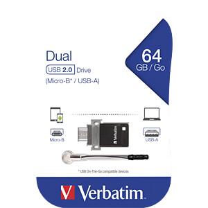USB-Stick, USB 2.0, 64 GB, OTG Dual Drive VERBATIM 49844