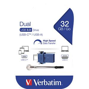 USB-Stick, USB 3.0, 32 GB, USB-C OTG Dual Drive VERBATIM 49966