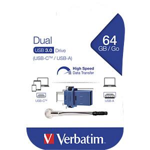 USB-Stick, USB 3.0, 64 GB, USB-C OTG Dual Drive VERBATIM 49967