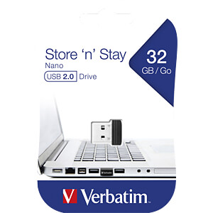 USB-Stick, USB 2.0, 32 GB, Store´n´Stay Nano VERBATIM 98130