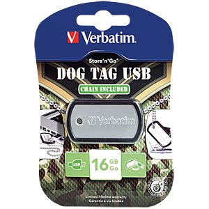 USB2.0-Stick 16GB Verbatim Dog Tag VERBATIM 98671