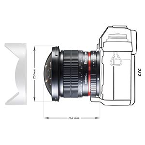 Fisheye Lens, 8 mm, for Sony A WALIMEX 18704