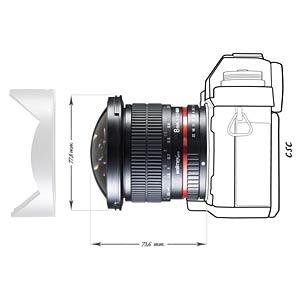 Fisheye-Objektiv, 8 mm, für Sony A WALIMEX 18704