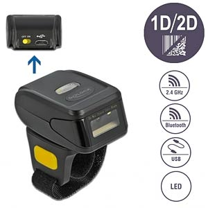 Barcode Scanner, Ring, 1D/2D, 2,4 GHz/Bluetooth DELOCK 90508
