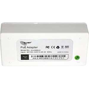 Power over Ethernet (PoE) injector, max. 30.0 W ALLNET ALL0488V4