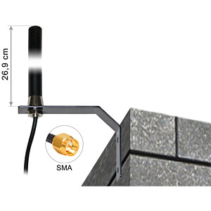 GSM-Antenne, Schraub-/ Wandmontage, LTE UMTS SMA 3 dBi, 3 m DELOCK 89529