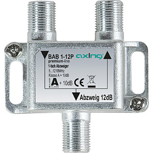 Abzweiger 5-1218 MHz, 1-fach, 12 dB AXING BAB 1-12P