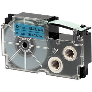 Schriftband, 12 mm x 8 m, schwarz/ blau CASIO XR-12BU1