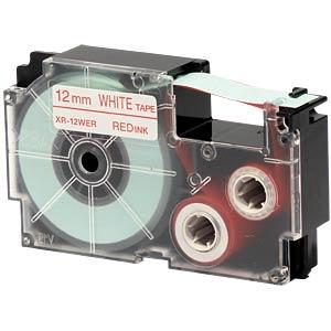 Schriftband, 12 mm x 8 m, rot/ weiß CASIO XR-12WER1