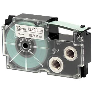 Schriftband, 12 mm x 8 m, schwarz/ transparent CASIO XR-12X1
